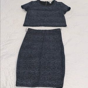 Navy Pencil Skirt with Crop Top